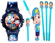 Relógio Luccas Neto Infantil Com Som Luzes Preto 3D + Caneta com Led - Sm