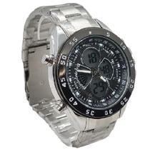Relógio Luxo Masculino Analógico e Digital Aço Inoxidável Funcional Resistente + Caixa - Intimes