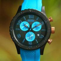 Relógio magnum masculino cronógrafo e calendário preto detalhes azul ref. ma33504f -