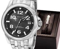 Relógio magnum masculino prata aço kit pulseira ma33022c -