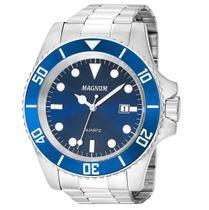 Relógio Magnum Masculino Prata Azul MA33068F -