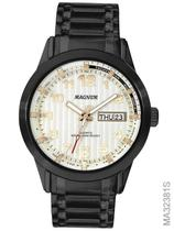 Relógio Magnum Masculino Preto Aço Fundo Branco Ma32381s -