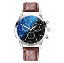 Relógio Marrom De Quartzo Pulseira Sintética Analógico Masculino Fundo Azul - Tae