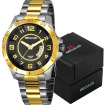 Relógio Masculino À Prova D'água Seculus Legado Dourado -