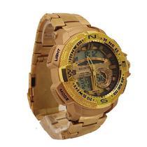Relógio Masculino Aço Inoxidável Dourado Luxo Funcional - Intimes