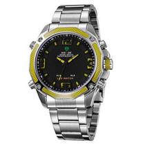 7c30fb045e3 Relógio Masculino Anadigi Weide WH-2306 Prata e Amarelo
