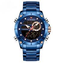 Relógio masculino azul naviforce 9163 inox anadigi digital e analógico grande casual esportivo -