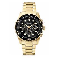 Relógio Masculino Bulova Analógico WB31989U Dourado com Fundo Preto -