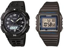 Relógio Masculino Casio Anadigi Esportivo AQ-S800W - 1BVDF Preto + Relógio Masculino W-215H-8AVDF Cinza