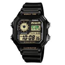Relógio Masculino Casio Preto Hora Mundial AE-1200WH-1BVDF Prova DAgua -