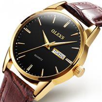 Relógio Masculino Casual Olevs Dourado Pulseira De Couro -