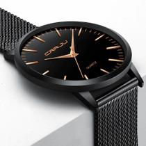 Relógio Masculino Casual Ultra Fino De Luxo Preto E Dourado - CRRJU