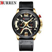 Relógio Masculino Curren 8329 Preto e Dourado. -