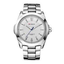 Relógio Masculino Curren Analógico 8109  Prata e Branco -