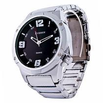 79de89f32af Relógio Masculino Curren Analógico Casual 8111 Prata