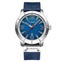 Relógio Masculino Curren Casual Esportivo Aço Inox Prata e Azul -