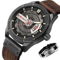 Relógio Masculino Curren Luxo Calendário + Pulseira Metal -