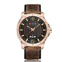 Relógio Masculino Curren Luxo Pulseira Em Couro Aço Inox -
