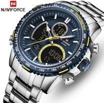Relógio Masculino de Luxo Importado Naviforce Nf9182 Original Funcional Cor Prata Silver Fundo Azul -