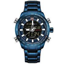 Relógio masculino digital e analógico naviforce 9093 azul inox multifunção casual esportivo -