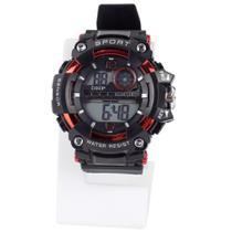 relógio masculino digital pulseira ajustável silicone alarme e cronometro - Orizom