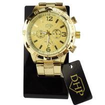 Relógio Masculino Dourado A Prova D' Água Pulseira em Aço - DHP