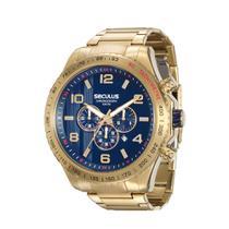 50772279860 Relogio Masculino Dourado Fundo Azul Cronógrafo Seculus