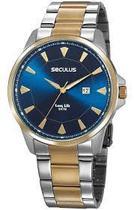 Relógio masculino dourado luxo a prova d'água seculus original 20805gpsvba4 -