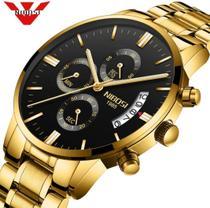 Relógio Masculino Dourado Luxo Nibosi 2310 Original Prova D'agua funcional Dourado Gold -