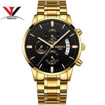Relógio Masculino Dourado Preto ou Branco Luxo Nibosi modelo NO.2309 -