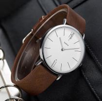 Relógio Masculino Elegante Yazole Design Luxo 506 Branco Pulseira Marrom -