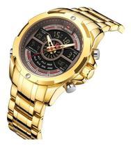 Relógio Masculino Esportivo Digital Naviforce 9170 Dourado -