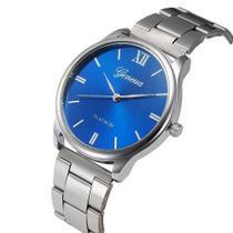 Relógio Masculino Feminino Geneva Fundo Azul Pronta Entrega -