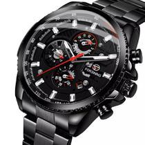 Relógio masculino forsining automatico todo funcional preto inox transparente luxo casual social -