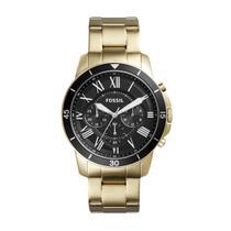 Relógio Masculino Fossil Fs5267/4pn 45mm Pulseira Aço Dourada -