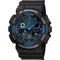 Relógio Masculino G-Shock Fundo Preto Com Azul A Prova D'Água Anadigi GA-100-1A2DR Garantia de Um ano - Casio