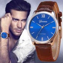 Relógio Masculino Geneva Original Social Couro Platlnum -