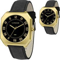 Relógio Masculino Lince Dourado Quadrado Couro MQC4498SP2PX -