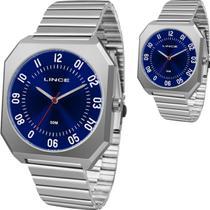 Relógio Masculino Lince Prateado Grande Original Prova DÁgua Todo em Aço MQM4498S D2SX -