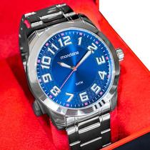 Relógio Masculino Mondaine Analógico Prata Azul 99130G0MVNE2 -
