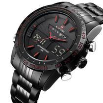 Relógio masculino naviforce 9024 preto com detalhes vermelho anadigi social casual ponteiro inox -
