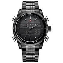 Relógio masculino naviforce 9024 preto e branco digital e analógico inox casual esportivo anadigi -