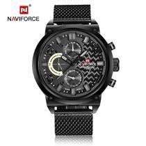 Relógio Masculino Naviforce 9068 Pulseira Inox - Preto Cinza -