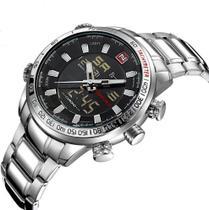 Relógio masculino naviforce 9093 prata prateado digital e analógico inox multifunção esportivo -