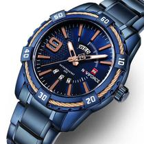Relógio masculino naviforce 9117 azul analógico social casual inox -