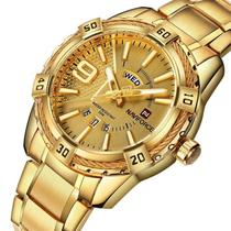 Relógio masculino naviforce 9117 dourado analógico calendario social casual ponteiro inox -