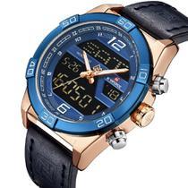 Relógio masculino naviforce 9128 digital e analógico anadigi azul rosé bronze -