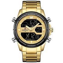 Relógio masculino naviforce 9138 dourado digital e analógico inox esportivo social casual anadigi -