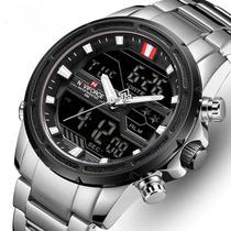 Relógio masculino naviforce 9138 prata prateado digital analógico inox esportivo multifunção anadigi -