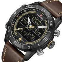 Relógio masculino naviforce 9144 preto e marrom digital e analógico multifunção -